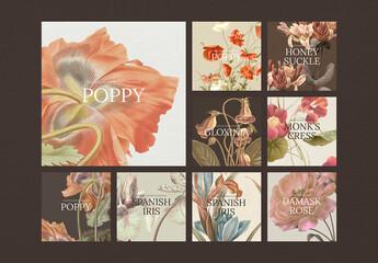 Fototapeta Social Media Post Layout with Vintage Flower Set obraz