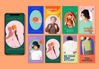 Fototapeta Style and Fashion Layoutset Forsocialmediastory obraz