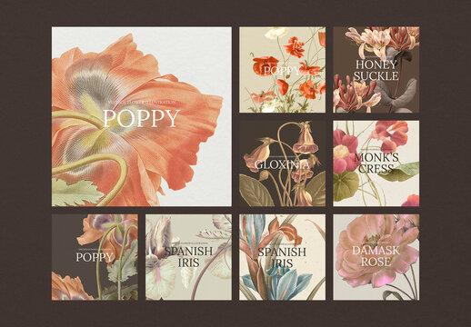 Social Media Post Layout with Vintage Flower Set