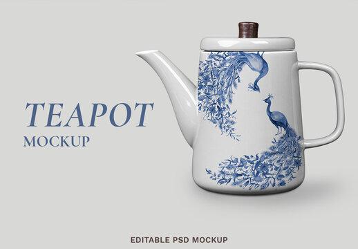 Editable Porcelain Kettle Mockup