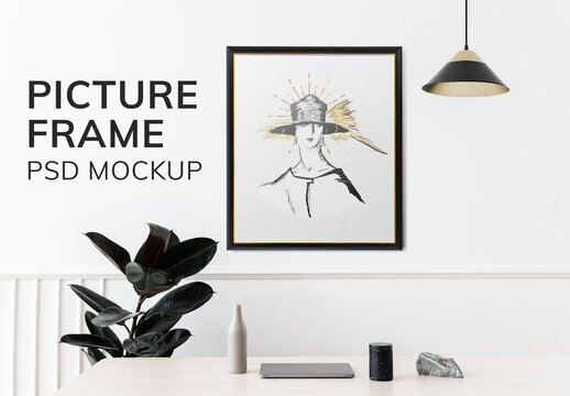 Picture Frame Mockup on a Wall