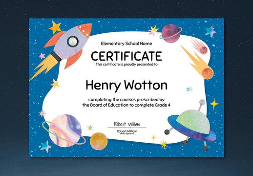 Cute Colorful Certificate Layout in Galaxy Design
