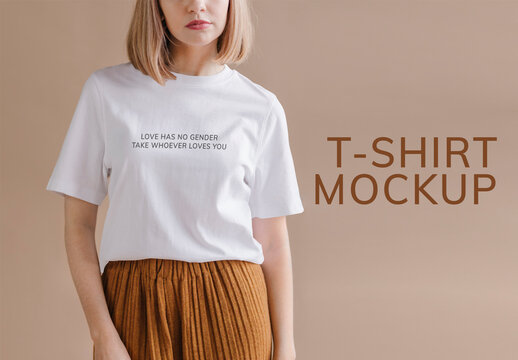 Woman in a White Tee Mockup