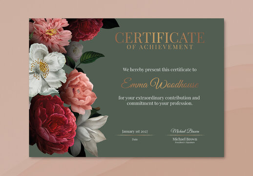 Vintage Floral Certificate Layout in Luxury Style