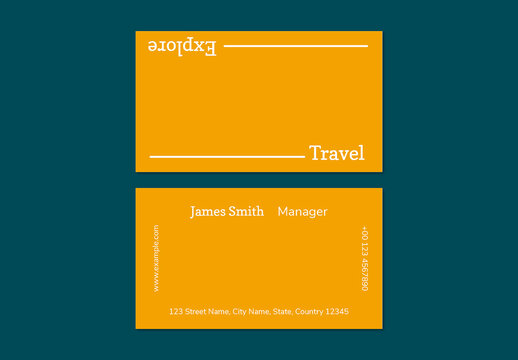 Minimal Business Card Layout in Orange Color