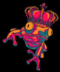 Obraz Cartoon illustration of a frog wearing a crown. vector - fototapety do salonu