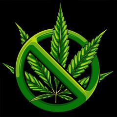 Obraz Sign of prohibition cannabis. sign ban marijuana. Vector illustration - fototapety do salonu