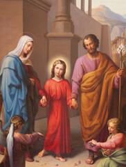 VIENNA, AUSTRIA - FEBRUARY 23, 2011: The holy Family from Vienna church Schubertkirche - Lichtentaler pfarrkirche by paiter Leopold Kupelwieser from 19. cent.