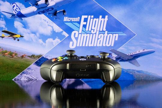 Xbox controller with Flight Simulator logo at TV screen - 26th Jul, 2021, Sao Paulo, Brazil