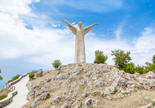 Maratea (Basilicata, Italy) - The touristic and colorful sea village in southern Italy, Basilicata region, with the attraction of giant and panoramic statue of Cristo Redentore