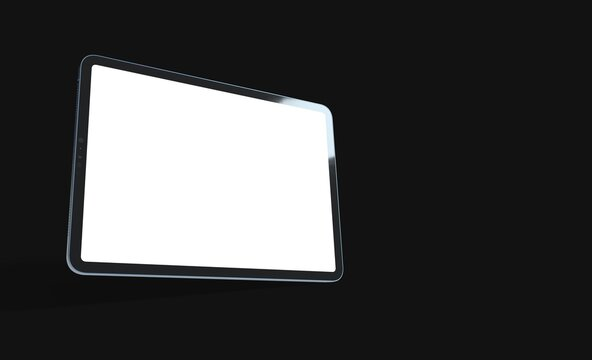 3D tablet with empty screen isolated digital black