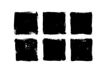 Fototapeta Set of grunge square template backgrounds. Vector black painted squares or rectangular shapes. Hand drawn brush strokes isolated on white. Dirty grunge design frames, borders or templates for text. obraz