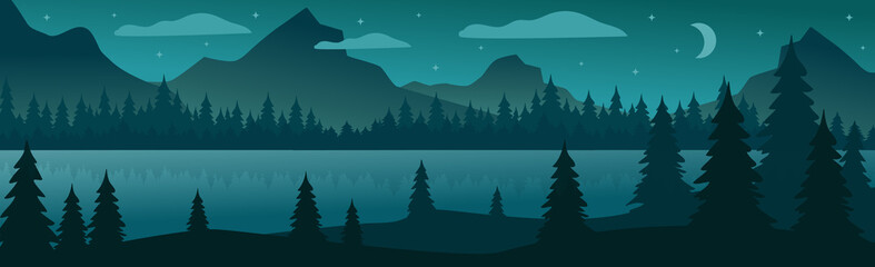 Fototapeta Panoramic mountain evening landscape on the background of a dense forest - Vector obraz