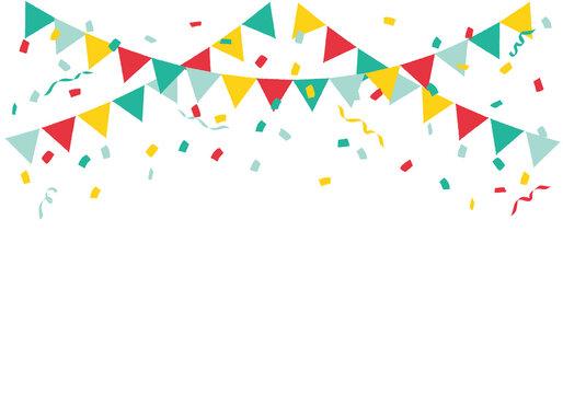紙吹雪とパーティーフラッグ・ガーランド・三角旗 カラフル