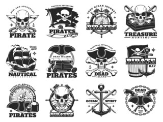 Fototapeta Pirate and treasure hunting icons of skull island and sea ships, vector. Pirate treasures adventure signs of Merry Roger flag with skull crossbones, treasures chest and ship helm with nautical compass obraz