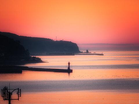 Hokkaido,Japan - June 22, 2021: Beautiful sky of Nemuro strait and Kunashiri island at dawn