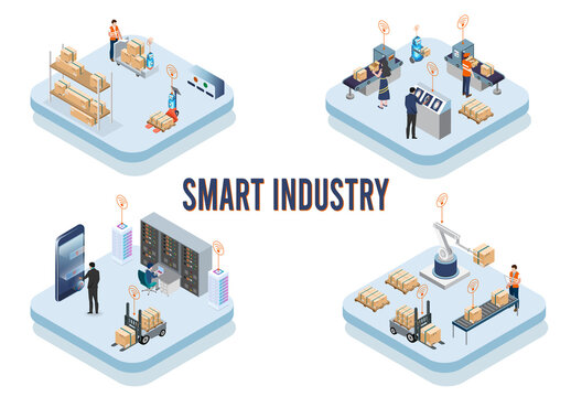 Modern isometric design concept of Smart Industry with development production packaging,  global logistics partnership, delivery, automated production line. Vector illustration Eps10