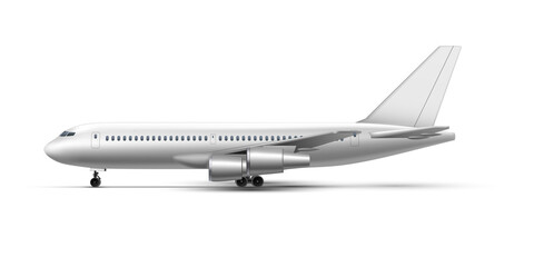 Obraz Realistic standing airplane, jet aircraft or airliner side view. Detailed passenger air plane. - fototapety do salonu
