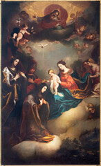 VIENNA, AUSTIRA - JULI 5, 2021: The painting of Apotheosis of Saint Elisabeth of Thüringen in Church of the Teutonic Order or Deutschordenkirche by Tobias Pock (1667).