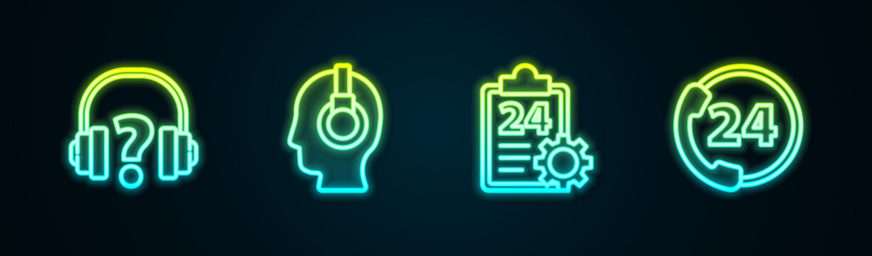Set line Headphones, Support operator in touch, Checklist with 24 hours service and Telephone support. Glowing neon icon. Vector