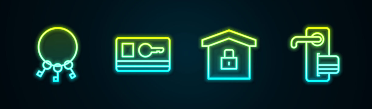 Set line Bunch of keys, Key card, House under protection and Digital door lock. Glowing neon icon. Vector