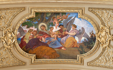 VIENNA, AUSTIRA - JULI 5, 2021: The idilic fresco of Holy Fmili in Jesuitenkirche - Jesuits church by jesuit Andrea Pozzo from begin of 18. cent.