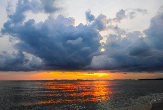 Beautiful scenic landscape with dark cloudy sky at Sunset in Otres, Sihanoukville, Gulf of Thailand, South Cambodia