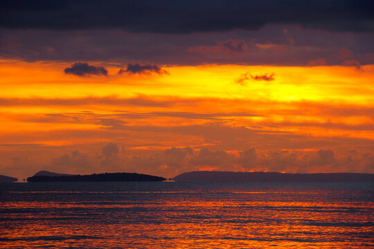 Beautiful scenic landscape with dark cloudy sky at Sunset in Sihanoukville, Gulf of Thailand, South Cambodia. May - 2013