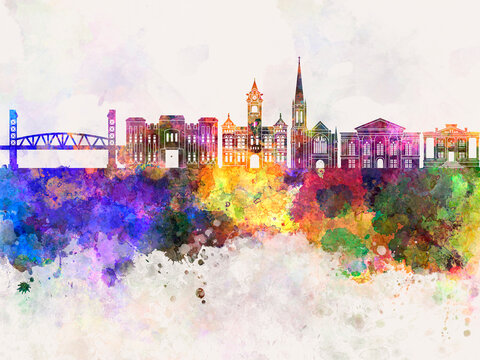 Wilmington NC skyline watercolor background