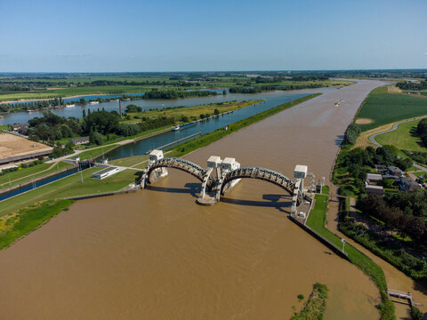 Lock and weir In Dutch River Lek Called Sluice Hagestein, openened for high water level