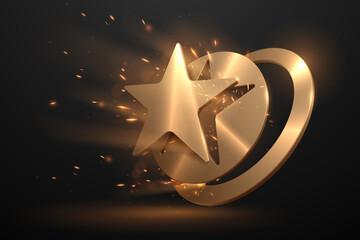 Obraz Golden star shape with sparks effect - fototapety do salonu