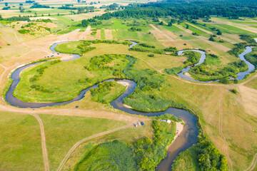 Obraz Meandry rzeki Liwiec - fototapety do salonu