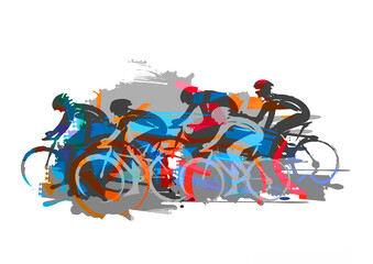 Fototapeta Cycling race, road cycling.  Expressive Illustration of cyclists in full speed. Imitation of brush drawing.  obraz