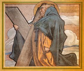 VIENNA, AUSTIRA - JULI 5, 2021: The fresco of St. Andrew the apostle in the church Neuottakringer Pfarrkirche by Felix Jenewien (1857 - 1905).