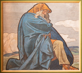 VIENNA, AUSTIRA - JULI 5, 2021: The fresco of king Hezekiah in the church Neuottakringer Pfarrkirche by Felix Jenewien (1857 - 1905).