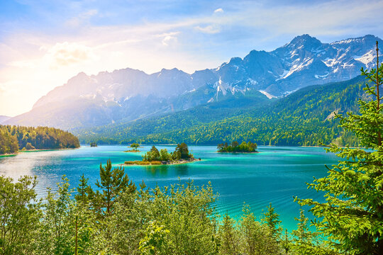 Picturesque Lake Eibsee in the Mountains of Bavaria in Germany