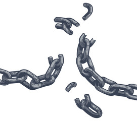 Fototapeta Chain Links Breaking Freedom Design obraz