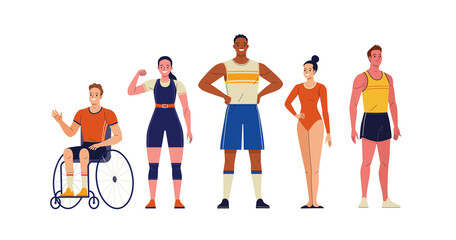 Fototapeta Group of athletes. Vector illustration of diverse cartoon men and women in athletic uniforms from different branches of sport: weightlifting and athletics, artistic gymnastics. Isolated on white obraz
