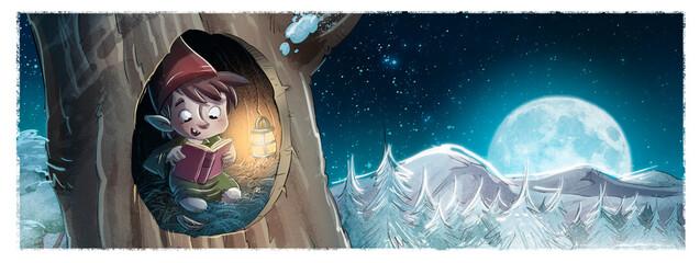 Fototapeta Illustration of Gnome reading a book at night obraz