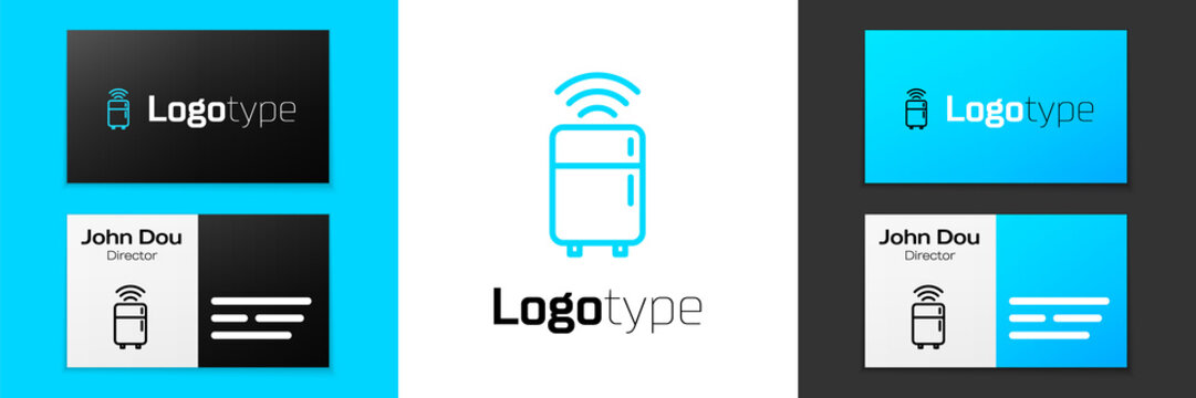 Blue line Smart refrigerator icon isolated on white background. Fridge freezer refrigerator. Internet of things concept with wireless connection. Logo design template element. Vector