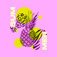 Fototapeta Contemporary art collage, modern design. Party summer mood. Composition with purple pineapple isolated on abstract background. obraz