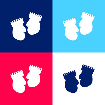 Baby Mittens Variant blue and red four color minimal icon set