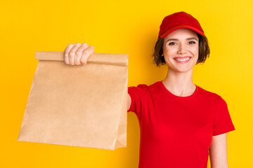 Photo of nice optimistic brown hair lady hold bag wear t-shirt cap isolated on yellow background Wall mural