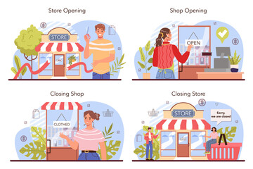 Obraz Commercial activities set. Entrepreneur opening or closing down a store - fototapety do salonu