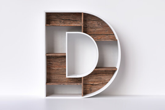 Wood alphabet letter D made of white plywood planks and bark textured shelves, decorative carpentry and furnishing concepts. High definition 3D rendering.