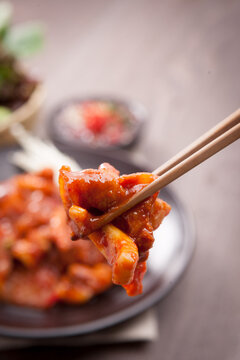 Korean style stir-fried squid and pork belly.