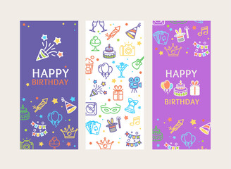 Obraz Happy Birthday Banner Poster Card Ad Vecrtical Set. Vector - fototapety do salonu