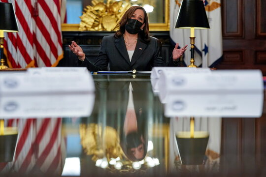 U.S. Vice President Kamala Harris hosts a conversation on Native American Voting Rights at the White House in Washington