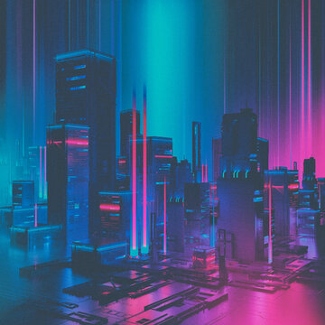 New wave city neon beams and glowing gradients