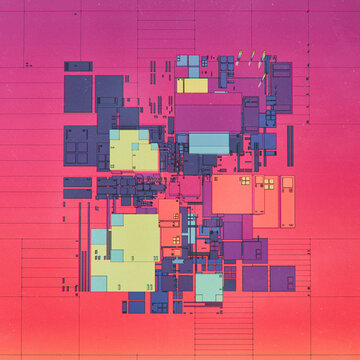 Retro cartoon breakdown grid of planning architecture map layout